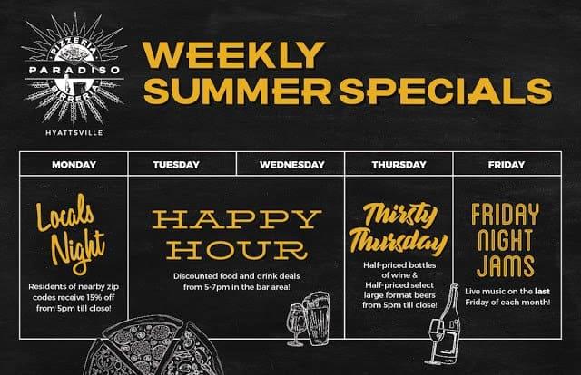 Pizzeria Paradiso Hyattsville Weekly Specials