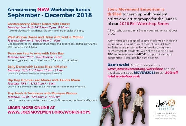 Joe's Movement Emporium Fall Workshop Series Mt. Rainier Maryland Dance